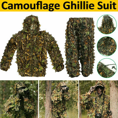 3D Leaf Camouflage Ghillie Suit Set Clothing Jungle Forest Hunting Sniper Train • 17.99£