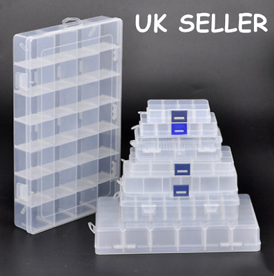 £9.99 • Buy 15/24/28 Grids Clear Plastic Small Parts Container Box Jewelry Craft Bead Holder