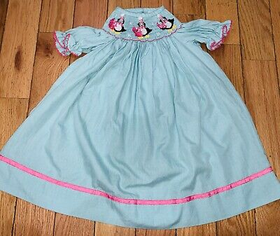 $20.99 • Buy Zuccini Smocked Bishop Dress Girl's Size 12 Months Penguin