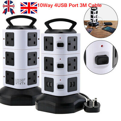 10 Way Switched Surge Protected Tower Extension Lead UK Mains Plug Socket & 4USB • 20.89£