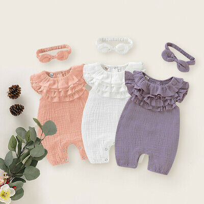 AU16.14 • Buy Newborn Baby Kid Girls Solid Sleeveless Jumpsuit Romper Headband Clothes Outfits