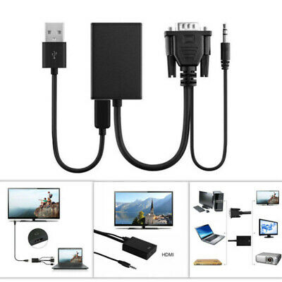 VGA To HDMI Converter HD 1080P Adapter / Audio Cable For HDTV TV PC Laptop • 5.89£