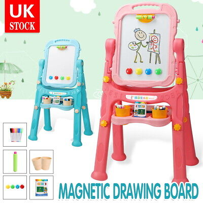 Kids Folding Double Sided Magnetic Drawing Board Easel With Colour Chalk Eraser • 23.99£