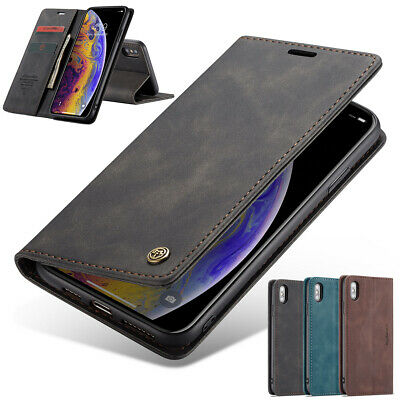 AU10.89 • Buy IPhone SE 8 7 Plus XR XS Max Case Magnetic Leather Wallet Card Flip Stand Cover