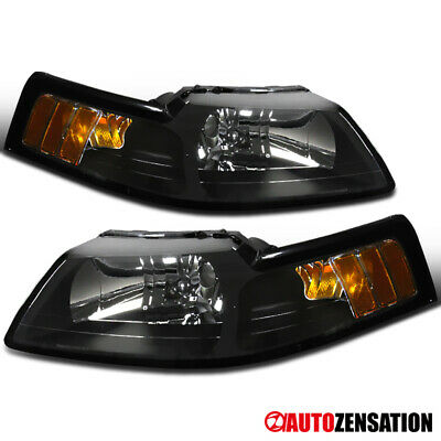 $71.99 • Buy For 1999-2004 Ford Mustang Cobra Pair Black Headlights Lamps Left+Right