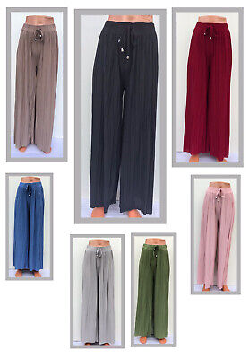 Ladies Women's Plain  Harem Pleated Wide Leg Chiffon Trousers Skirt Look Holiday • 7.99£