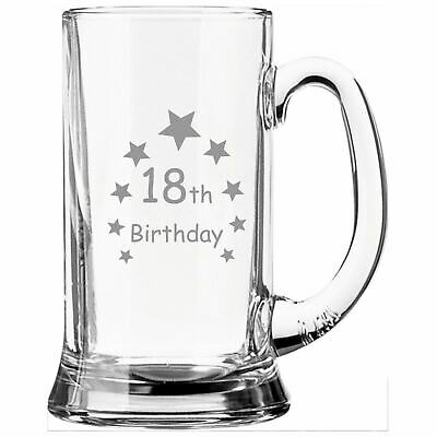 Personalised Engraved Half Pint Glass Tankard With 18th Birthday Stars Design • 10.99£