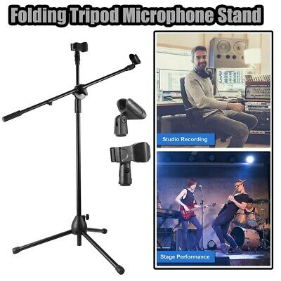 Professional Metal Microphone Stand Boom Arm Holder Adjustable & 2 Mic Clips UK • 10.49£