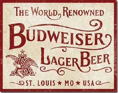 $ CDN21.11 • Buy Budweiser Metal/Tin Sign - World Renowned