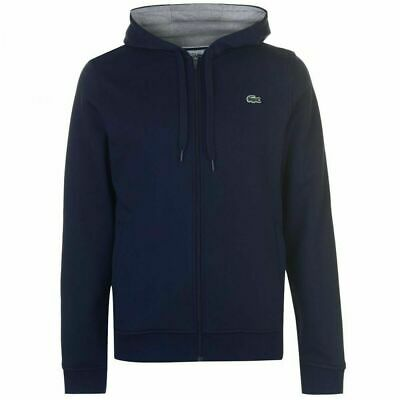 Mens Lacoste GL9902 Fleece Hoodie Navy Hooded Sports Tracksuit Top Size M • 69.99£