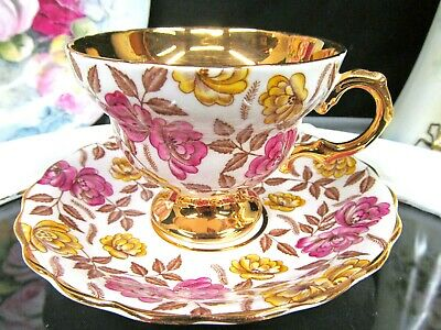 $42.46 • Buy ROSINA Tea Cup And Saucer Painted Pink Rose Pattern Teacup Gold Band 1930s