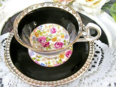 $42.46 • Buy MAYFAIR Tea Cup And Saucer 1930s Black And Pink Rose Chintz Teacup England