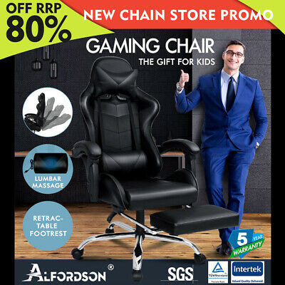 AU139.85 • Buy ALFORDSON Gaming Chair Office Executive Racing Footrest Seat Leather All Black