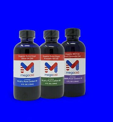 AU128.81 • Buy Carbon 60 C60 High Purity In Organic Oils Combo: Olive, MCT, Avocado Oils 12oz