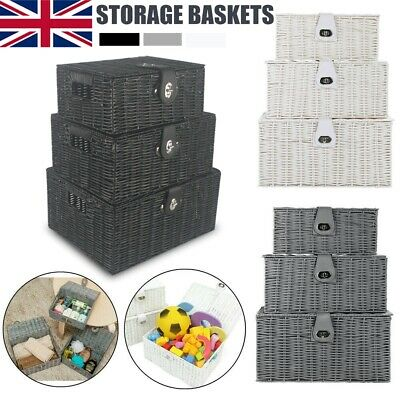 Storage Basket Hamper Resin Woven XMAS Set Of 3 Box With Lid & Lock Decoration  • 16.99£