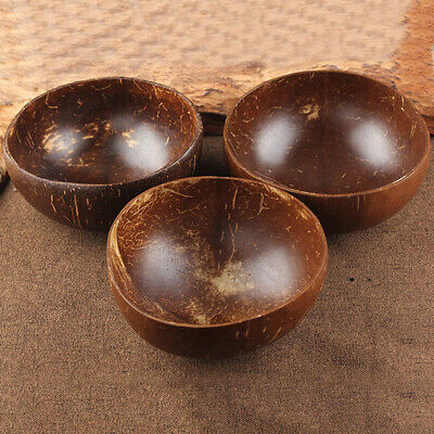 $4.94 • Buy Natural Coconut Shell Bowl Bamboo Spoon Scoop Handicraft Art Work Home Decorate