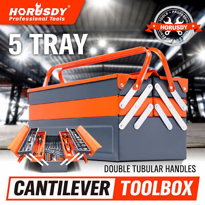 AU44.98 • Buy 5-Tray Steel Cantilever Tool Storage Box Portable Parts Organiser Carry Holder