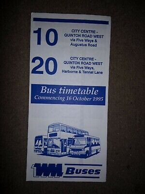 Old West Midlands Travel  Wm National Express Bus Time Table Route Map 1995 Wmpt • 1.29£