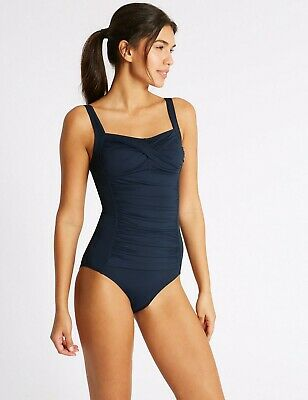 New Longer Length Super Slimming Tummy Control Swimsuit Costume ExM&S Size 8 WRH • 13.99£