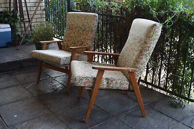 AU550 • Buy Matching Pair Of Mid Century Eames Era Wooden Danish Lounge Chairs Armchairs