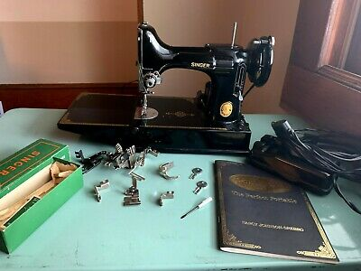 $483 • Buy Vintage 1952 Singer Featherweight 221 Sewing Machine W/ Travel Case + More