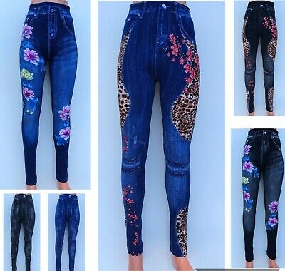 Denim Look Jean Jeggings-Floral/Silver Sequins Patterns Fitted Leggings Trousers • 6.99£