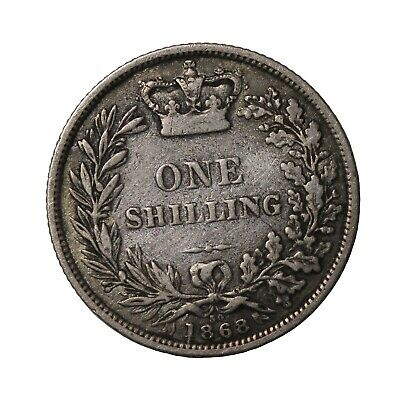 $29 • Buy 1868 Britain Silver One Shilling Die Number 30 Queen Victoria Coin KM#734.2