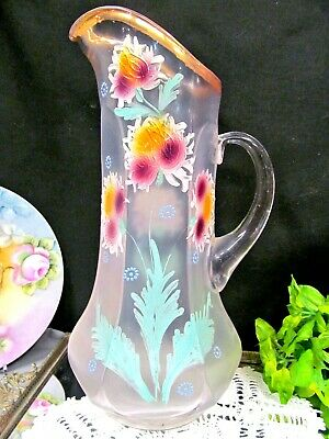 $35.95 • Buy Vintage Large Glass Pitcher Hand Painted Flowers Enameled Design Glass Bottle