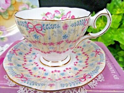 $50.96 • Buy QUEEN ANNE Tea Cup And Saucer Orchid & Pink Ribbon Teacup Bridal Gown Chintz
