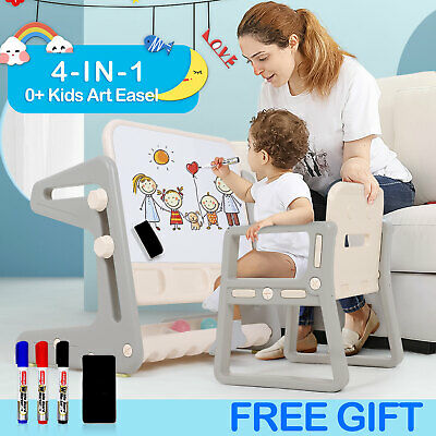 4-IN-1 Kids Table And Chair Set Art Easel Study Desk Drawing Board Adjustable UK • 43.99£