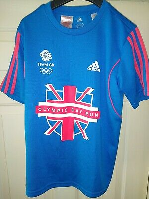 Adidas Blue Olympic Day Run' T-shirt Age 11-12 TEAM GB LONDON 2012 UK ENGLAND  • 4.99£
