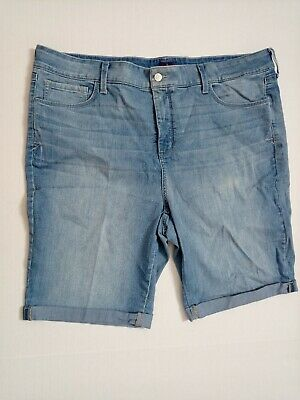 $22 • Buy NYDJ Not Your Daughters Jeans Denim Cuffed Shorts Size 20W Blue