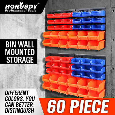 AU51.98 • Buy 60Pc Tool Storage Bins Parts Box Shed Workshop Organiser & 2 Wall Mounted Boards