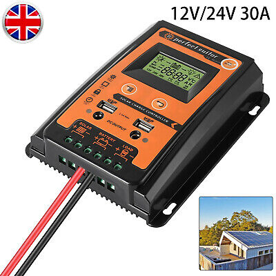 12/24V 30A MPPT Solar Charge Controller Panel Battery Regulator LCD Display UK • 22.79£