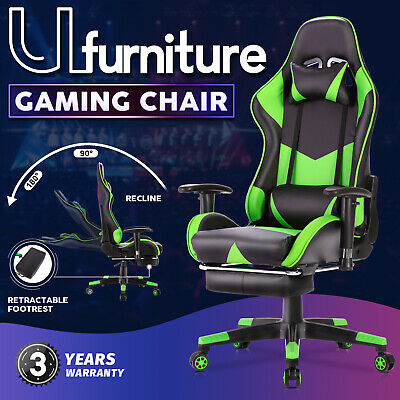 AU159.90 • Buy 180°Recliner Chair Executive Office Computer Gaming Racer Chair W/Footrest Green