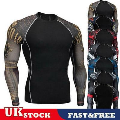 Mens Quick Drying Base Layer Compression Thermal Tops Sports Long Sleeve Shirt U • 6.69£