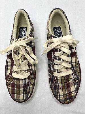 $19.98 • Buy Ralph Lauren Polo Womens Size 6 Maroon & Ivory  Plaid Shoes