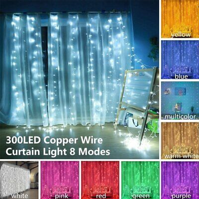 300 LED Curtain Fairy Lights Wedding Indoor/Outdoor Xmas Garden Party Decor UK • 12.13£