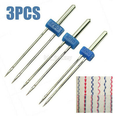 Three Pieces Stretch Twin Needles Double Needle Pins For Sewing Machine Set UK • 3.59£