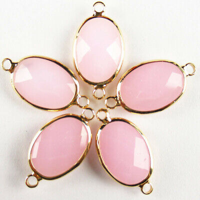 $ CDN25.49 • Buy 10Pcs Wrapped Faceted Rose Quartz Oval Connector Pendant Bead 18x13x6mm A-77BBS