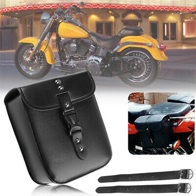 $20.26 • Buy Motorcycle Black Leather Bag Saddle Storage Tool Box Pouch Side Case Parts Kit