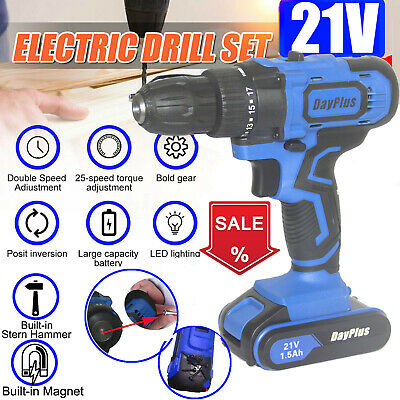 View Details Cordless Power Drill Double Impact Dual Speed LED Work Light + 2xLi-ion Battery • 58.73£
