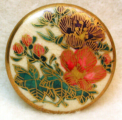 $10.50 • Buy Vintage Satsuma Button Hand Painted Flowers With Gold Design 1& 1/16   Pretty!
