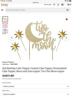 AU10 • Buy 2nd Birthday Cake Topper⭐️two The Moon