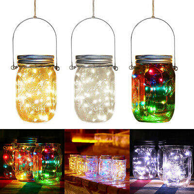 Mason Jar Lid Fairy String Solar Powered LED Lights Lamp Garden Party Decoration • 5.95£