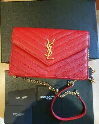 AU950 • Buy Ysl Envelope Chain Wallet Bag Red And Gold Geunine Ysl