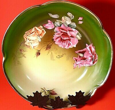 $44 • Buy J & C Louise Bowl Hand Painted Artist Signed 1898-1923 Bavaria 9 7/8  Antique