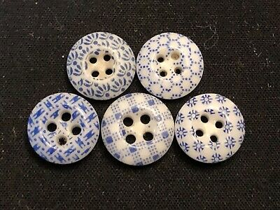 $14.99 • Buy Antique Buttons---lot Of 5---BLUE CHINA CALICOS---ID Ed By Pattern Numbers,7/16