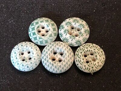 $14.99 • Buy Antique Buttons---lot Of 5---GREEN CHINA CALICOS--ID Ed By Pattern Numbers,7/16