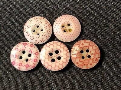 $14.99 • Buy Antique Buttons--lot Of 5---PINK CHINA CALICOS--ID Ed By Pattern Numbers,7/16